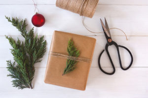 Jute and evergreen sprigs
